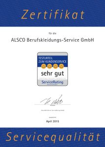 Alsco Zertifikat Service Rating 72 dpi