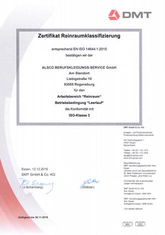 DMT-Zertifikat-Reinraumklassifizierung-ALSCO-Regensburg-2018