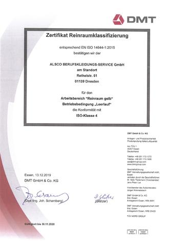 Zertifikat Reinraum