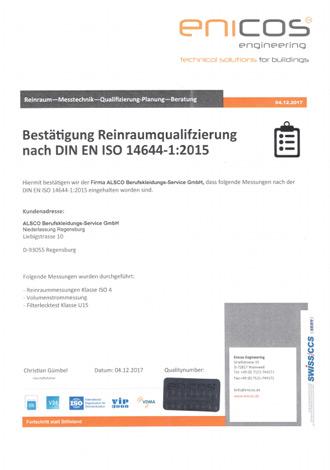 ISO-14644-1-Reinraumzertifikat
