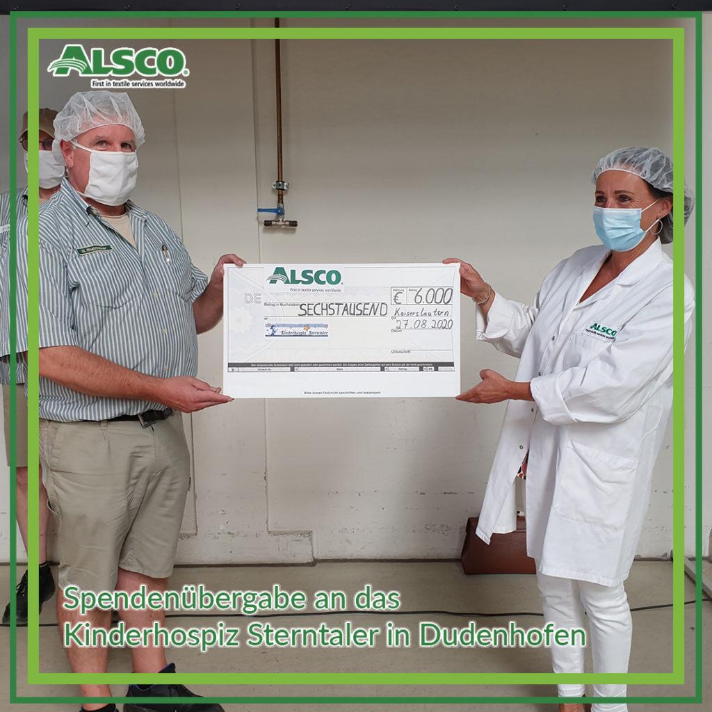 Spendenübergabe in der Alsco Niederlassung Kaiserslautern